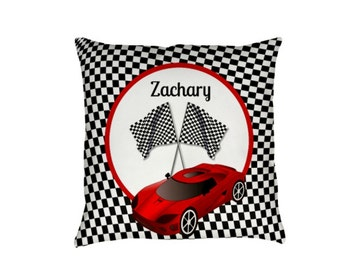 Personalized Race Car Checkered Flag  Throw Pillow Sofa Pillows Bed Decor