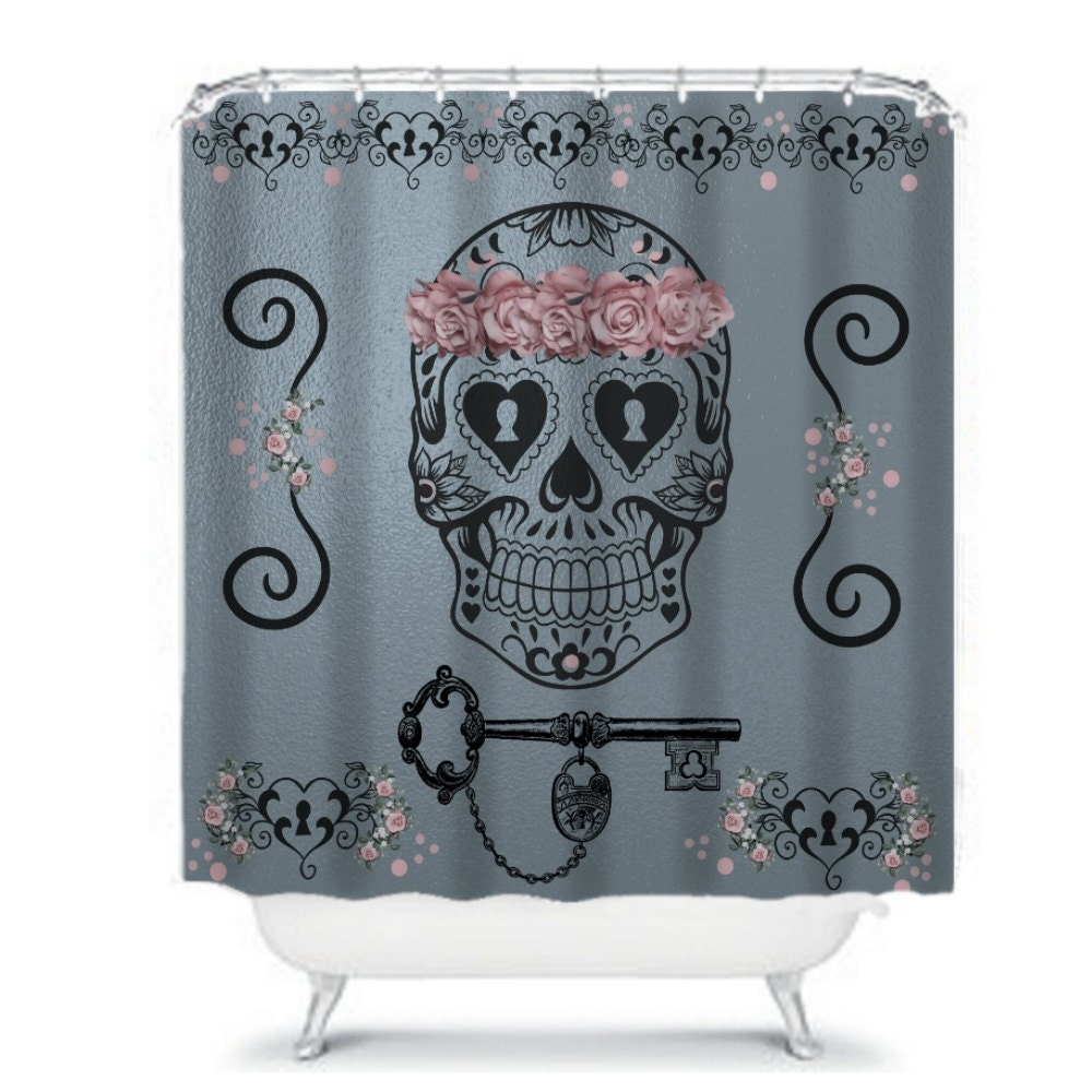 sugar skull shower curtain metallic silver gray pink roses. Black Bedroom Furniture Sets. Home Design Ideas