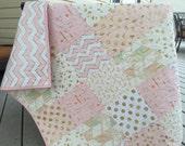 Baby girl quilt, crib quilt, brambleberry ridge, glitz, pink-white-gold