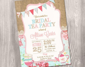 Tea Party Bridal Shower Invitation, Bridal Shower Invitation, Tea Party Shower, Floral Bridal, Tea party invite, Printable Invitation
