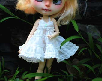 Blythe dress/Blythe white sling cake dress