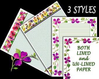 "3 Floral Stationary Papers - 8.5x11"" Printable Digital Paper Set - 3 Styles Journal Paper in Both Lined & UnLined - Discounted Sale Price"