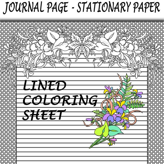 lined coloring sheet journal paper wild by artwildflowersdigi. Black Bedroom Furniture Sets. Home Design Ideas