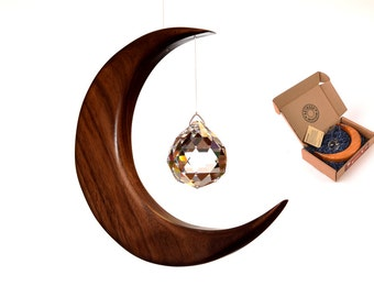 Large Moon Suncatcher Made in Ireland wood and crystal with Angel or Sphere Prism, Rainbow Maker, Window Hanging LG. Version