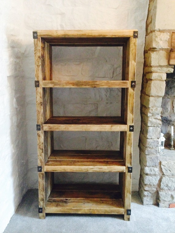 industrial style reclaimed wood and metal shelving unit. Black Bedroom Furniture Sets. Home Design Ideas