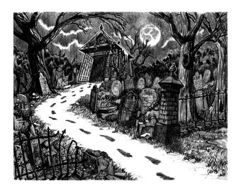 Graveyard Path by Colin Richards (7.5x9.5 inch Digital Print on 8.5x11 cardstock, unframed) Spooky Eerie Zombie Cemetery Halloween art print