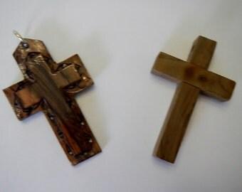 Vintage Olive Wood Cross Pendant - CHOICE OF 1 - 1970s - Bethlehem, Holyland, religious, large pendants, Jerusalem, 2 designs, Christianity