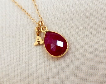 Ruby Birthstone Necklace with Alphabet Initial