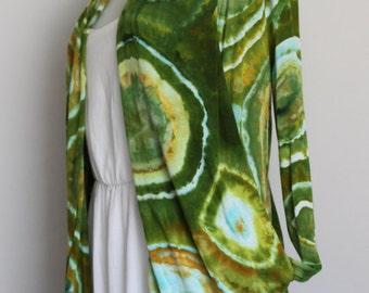 Cardigan, ice dyed, fly away cardi, Tie Dyed, womens Clothing, Size medium - Kortney's Meadow Bullseye