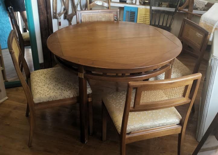 vintage wood round dining set for 4 hickory furniture co for sale