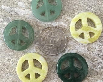 Green and Yellow peace sign beads (set of 5)