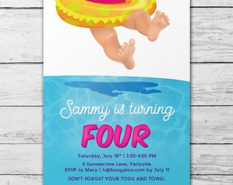 Summer Pool Party Invitation – Printable Custom Invitation – Girls Party