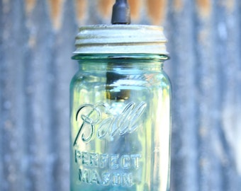 Ball Perfect Mason/ Vintage Jar w/Tin Lid Outdoor Lighting / Weatherproof (conatact me for multiples I can get many more)