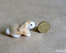 OOAK Needle felted tiny bunny rabbit ginger white handmade doll house miniature unique gift by BibiPauk