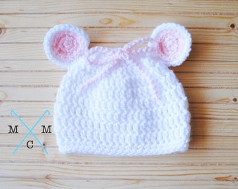 Newborn Mouse Hat, Baby Mouse Hat, Baby Girl Hat, Crochet Mouse Hat, Knit Baby Hat, Knit Mouse Hat, Crochet Baby Mouse Hat- MADE TO ORDER