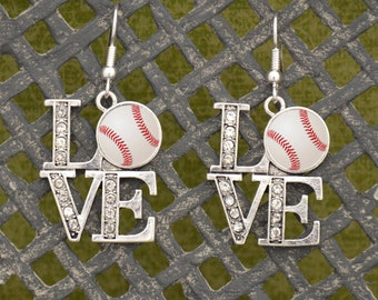 LOVE Baseball Earrings