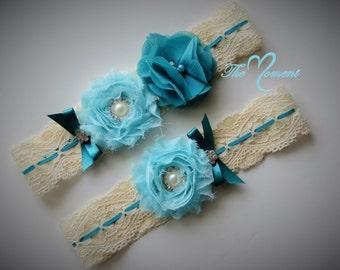 Turquoise Stretch Lace Garter Set, Wedding Garter, Bridal Garter, Turquoise Garter, Customize Garter, Vintage Garter, Something Blue
