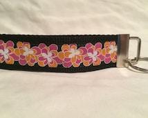 Black, Orange, Pink, White Flower Print Grosgrain Ribbon on Black Webbing Key Fob Keychain Wristlet