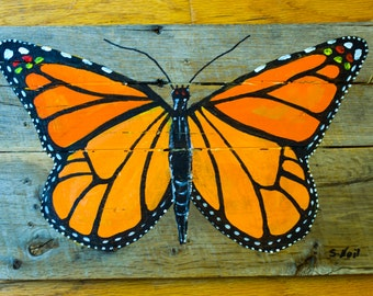 Butterfly on reclaimed wood