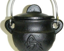 Triquetra Cast Iron Cauldron  ~ Altar Supplies ~ Witch ~ Wicca ~ Pagan ~ Witchcraft ~ Herb Burner ~ Goddess Symbol ~ Charcoal Disk Included