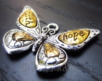 Faith Hope Butterfly Pendant Charms - 3/5 Large Wholesale Antique Silver Plated Enamel Charm Findings C8174