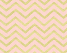Metallic Chevron Fabric - Sleek Chevron Pearlized in Blush by Michael Miller Fabrics - 1/2 Yard