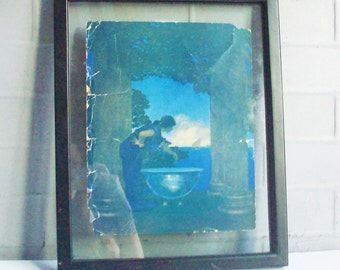 Vintage Maxfield Parrish / Print / Cires Palace / Collier's Magizine / Study in Blue / Rare Picture, poor condition