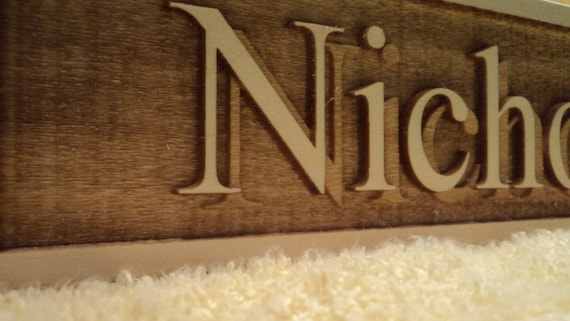 Personalized engraved wooden name plate for office school