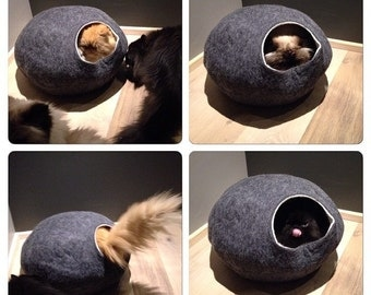 Cat Bed, house, Cave, 100% Handmade from natural felted wool. KIVIKIS -  Color  Dark Grey