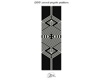 peyote pattern black and white beadwork bracelet tutorial