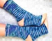 Yoga socks Hand knitted blue striped angora wool yoga socks * Hand knitted leg warmers Feet warmers Pedicure socks Pilates socks Dance socks