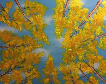"""Aspen Canopy Original 14"""" x 18"""" Acrylic Tree Painting on a canvas panel. """"Canopy of Gold"""""""