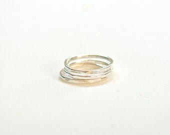 Sterling Bands, Hammered Rings, Sterling Ring Set, Stacking Rings, Skinny Sterling Rings