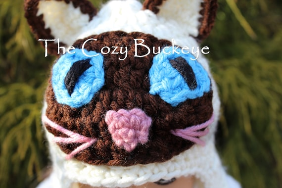 Instant Download Crochet Pattern - Siamese Cat Hat ...