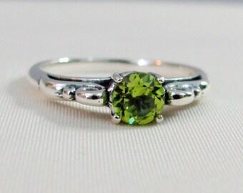 Peridot Ring in Sterling Silver, Peridot Gemstone, August Birthstone, Peridot Birthstone Jewelry, Solitaire Ring, Peridot