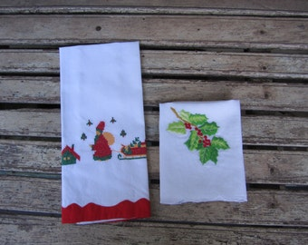 Two Embroidered Christmas Guest Towels