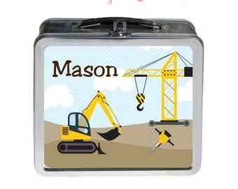 Construction Lunchbox - Personalized Tin Metal Lunchbox - Double-Sided Construction Design