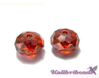 2x Swarovski 5040 Faceted Briolette Beads 12 mm - Crystal Red Magma