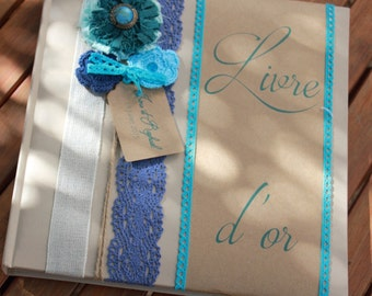 Range |mariage turquoise| guestbook fabric flowers trio / hook