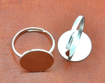 Ring Blanks Adjustable -50 pcs White K Plated Adjustable Ring Base Flat Pad 15mm,DIY Accessory Jewelry Making------G1766