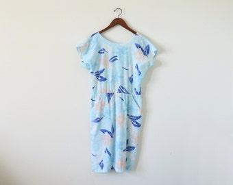 SALE ~ 80s Hawaiian dress / vintage summer dress / tropical print dress