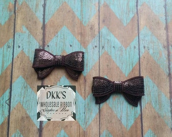 2 Chocolate Sequin Applique Bows- Going Out Of Business-Wholesale/Chocolate/ Brown/2.8 inches
