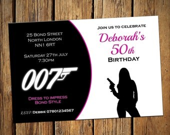 50th Birthday Personalised Party Invitations Bond Female