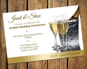 50th Golden Wedding Anniversary Party Invitations No 1