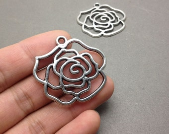5 pcs of Antique Silver Filigree Rose Flower Pendants Charms 37mmx39mm