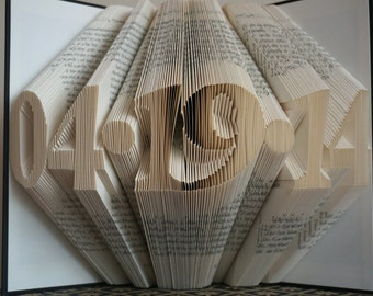 Folded Book Art - Anniversary Gift - 1st Wedding Anniversary -Gift for Him - Gift for Her - Wedding Date - Birthday Gift