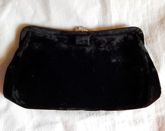 Gorgeous Vintage Garay Black Velvet Clutch or Evening Bag - 1950s - Rhinestone Clasp