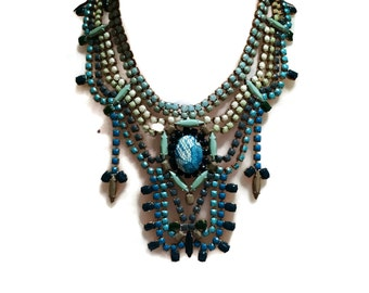 SEASIDE teal green and blue hand painted rhinestone statement bib necklace
