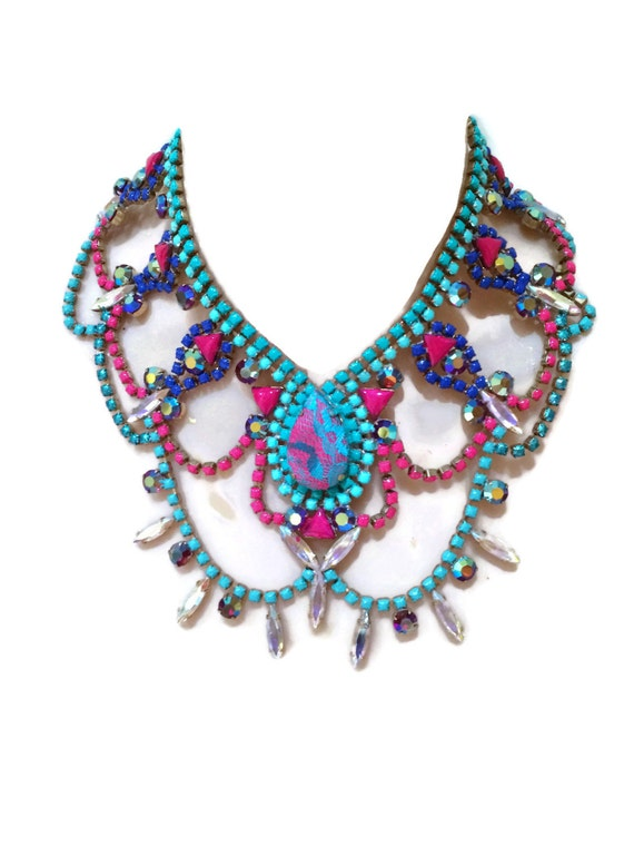 Turquoise Barbie House: BARBIE Turquoise Pink And Blue Hand Painted Rhinestone