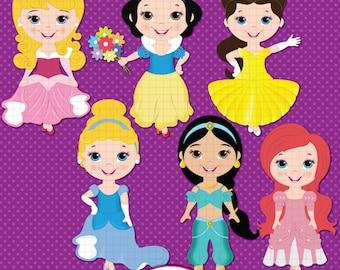 Princess Digital Clipart, Little Princess Clipart, Princess Clip art, Aurora, Belle, Snow white, Cinderella, Jasmine, Ariel